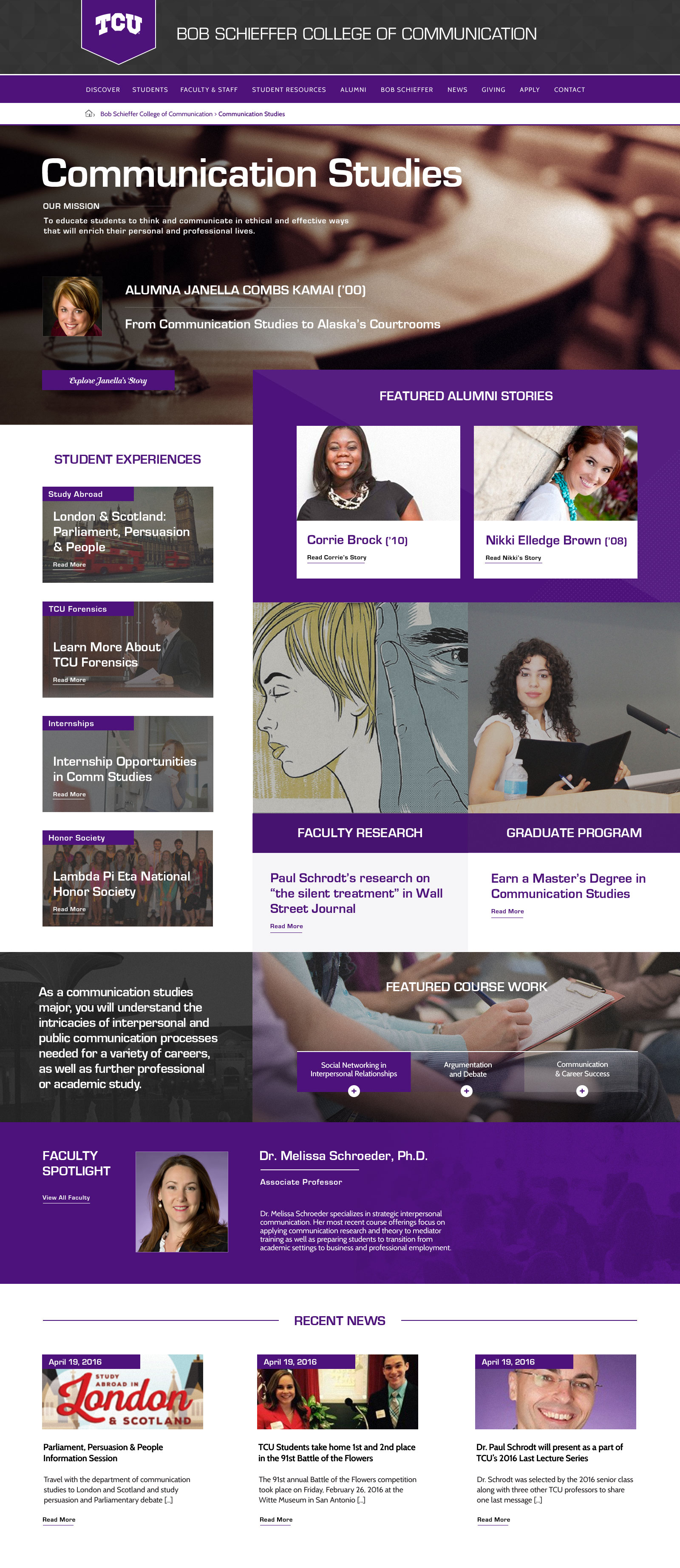 TCU College of Communication Website Preview School of Communication Studies