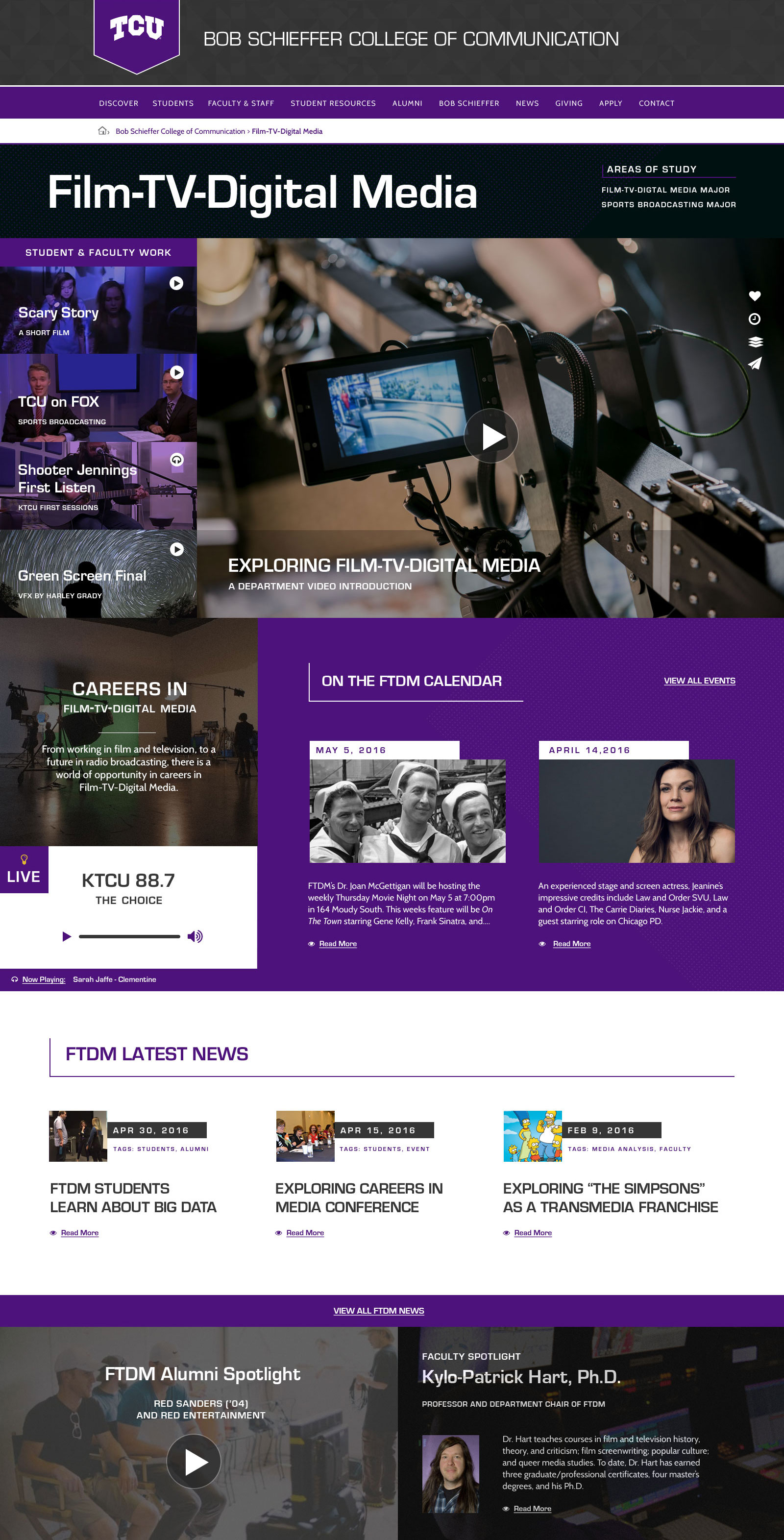TCU College of Communication Website Preview School of Film TV and Digital Media