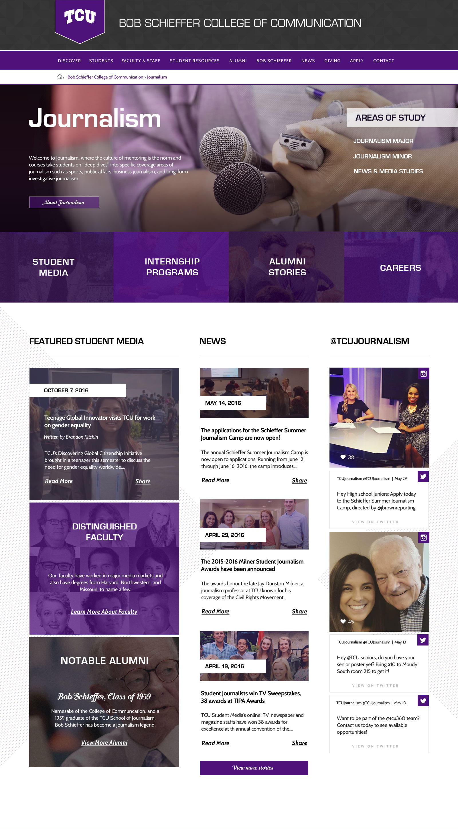TCU College of Communication Website Preview School of Journalism