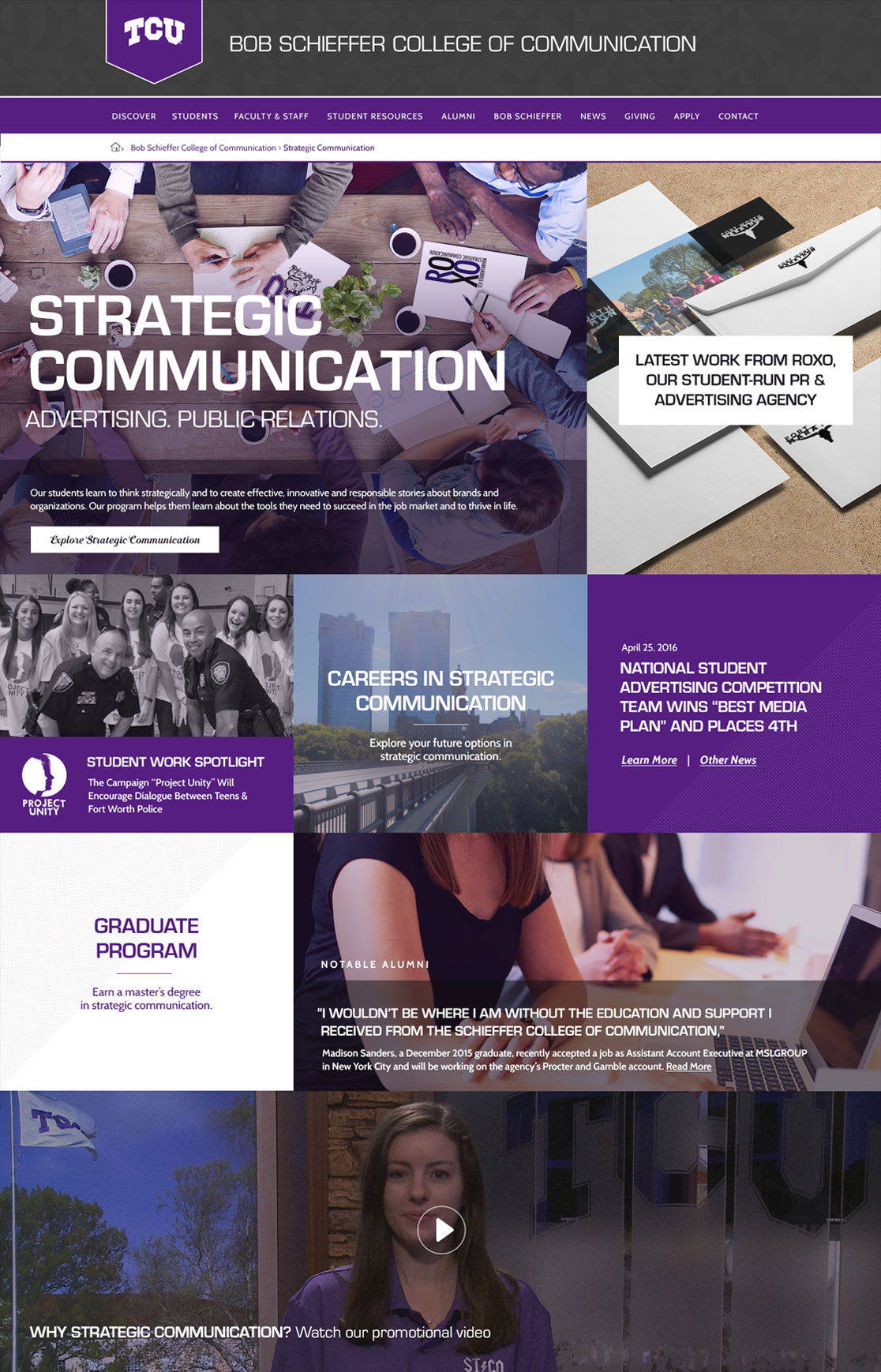 TCU College of Communication Website Preview School of Strategic Communication